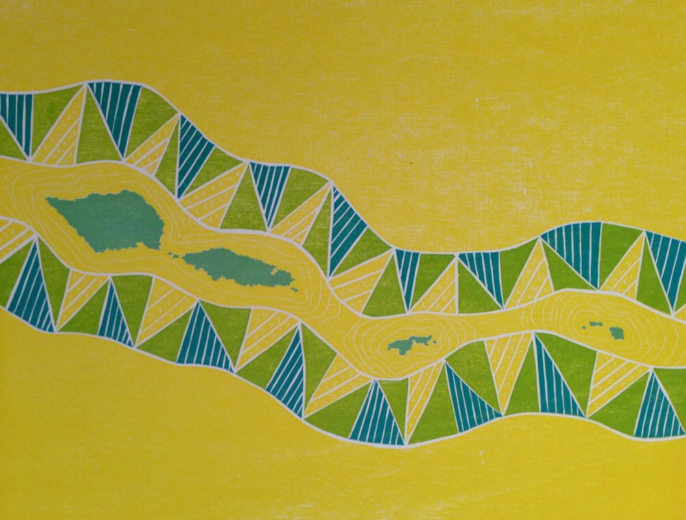 Lotanu'u - Homeland, Léuli Eshraghi, reduction woodblock print on Hahnemühle paper, 2013