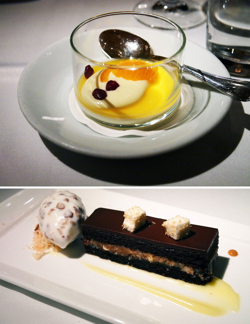 vanilla bean panna cotta with passionfruit mousse | chocolate pecan coconut cake with butter pecan ice cream