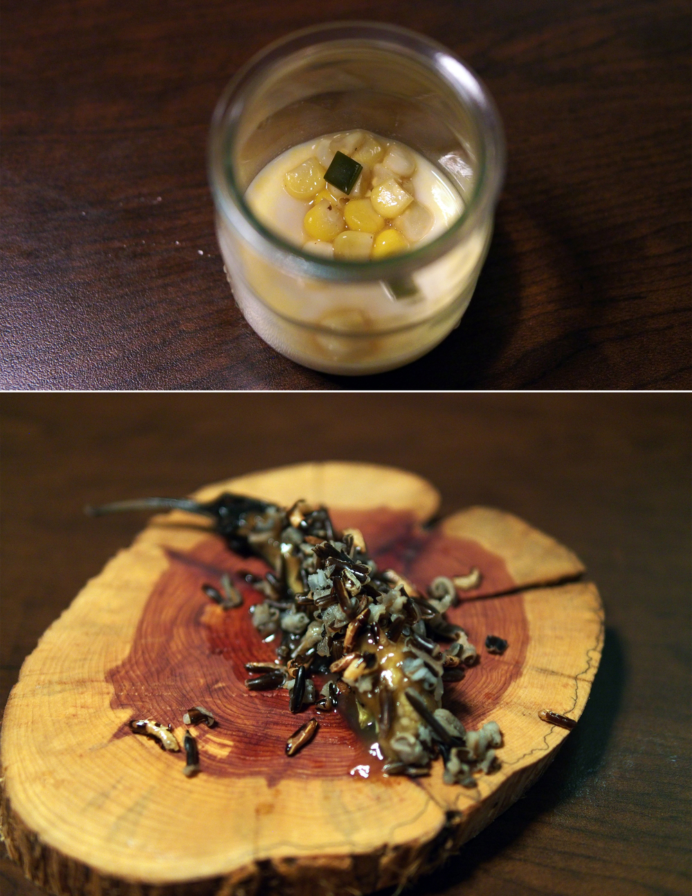 Top: Corn chawanmushi  Bottom: Roasted eggplant with crispy wild rice