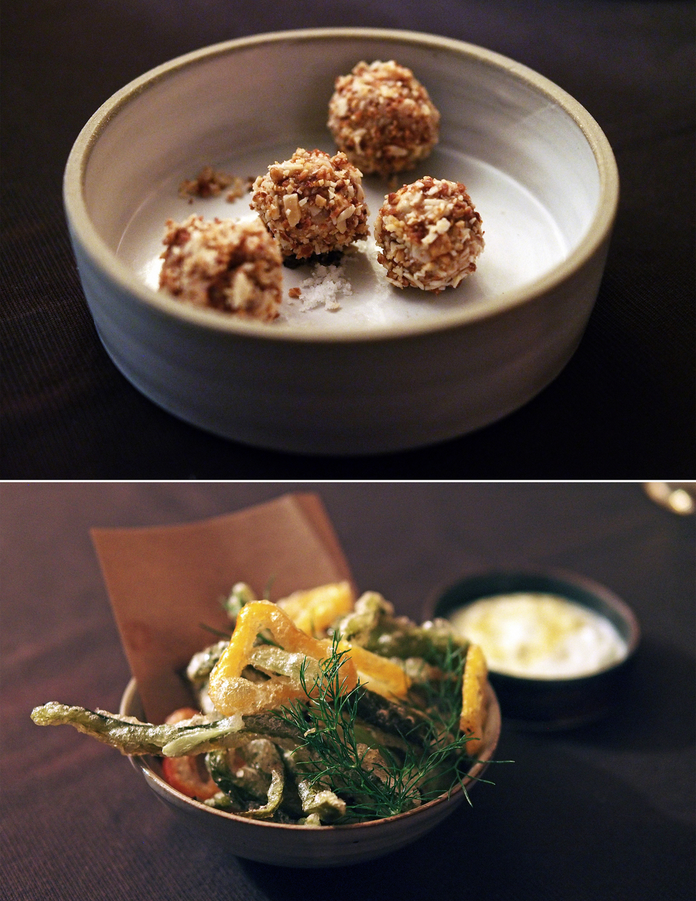 Top: Foie Gras Bonbons  Bottom: Fried Pickles with peppers and yogurt