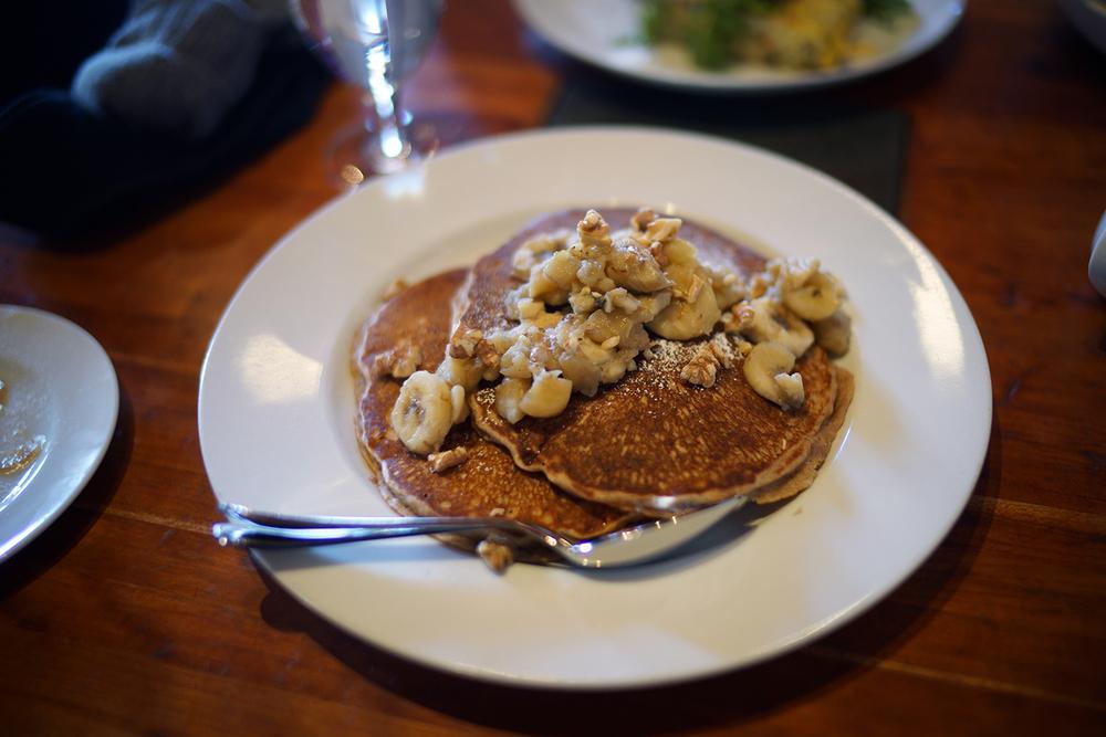 Buckwheat Pancakes with Banana and Walnut