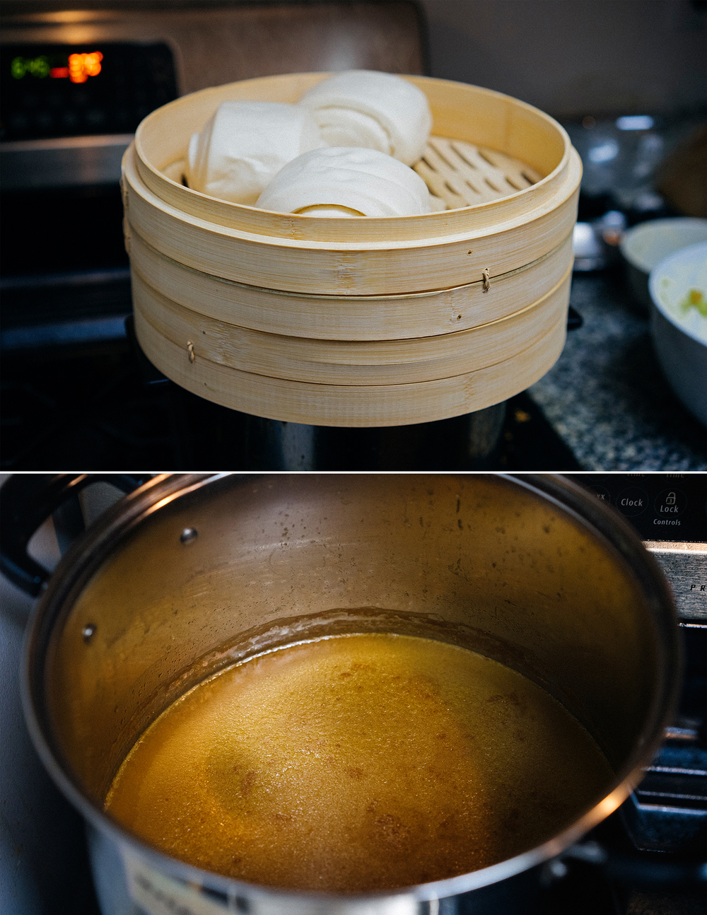 Steaming buns and a pot full of ramen broth