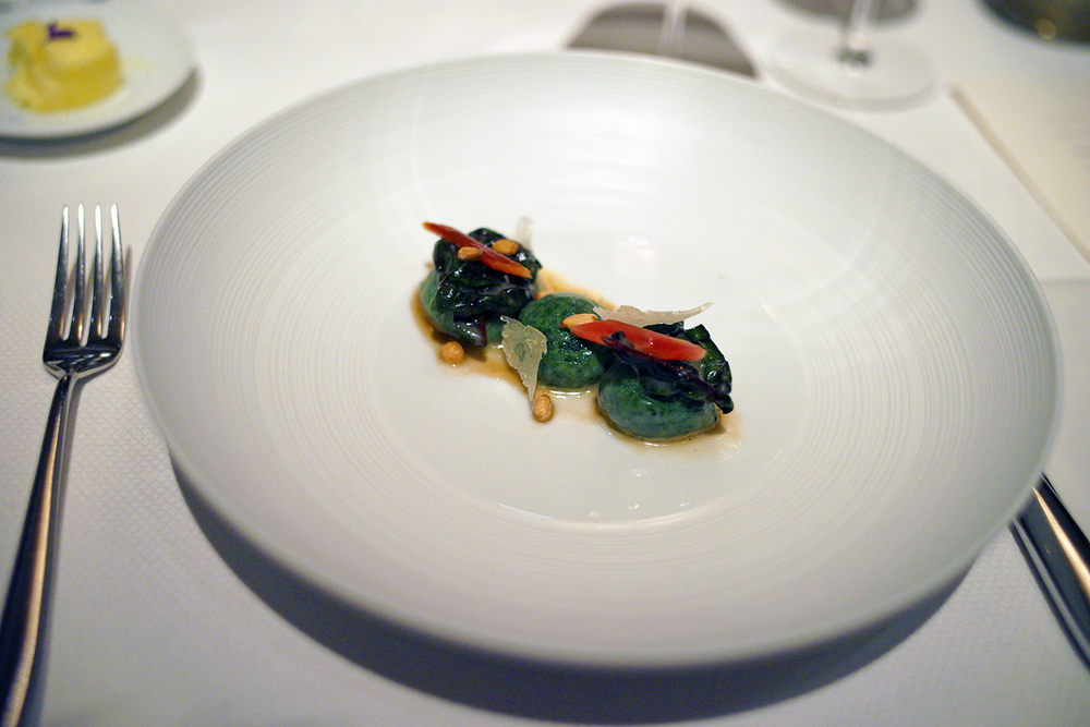 Gnudi Verde – swiss shard, pinenut, brown butter