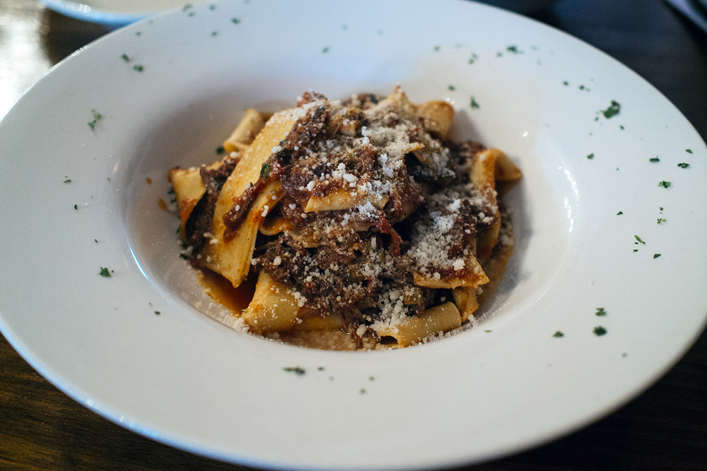 Pappardelle with honey-braised short rib ragu