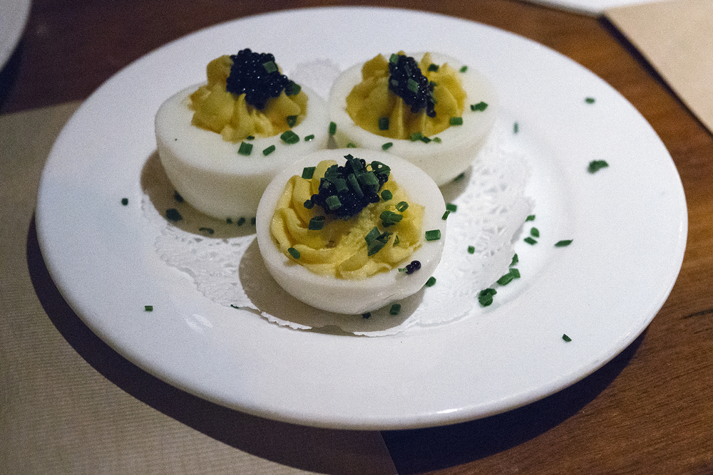 The caviar on the deviled eggs gave it a nice salty finish