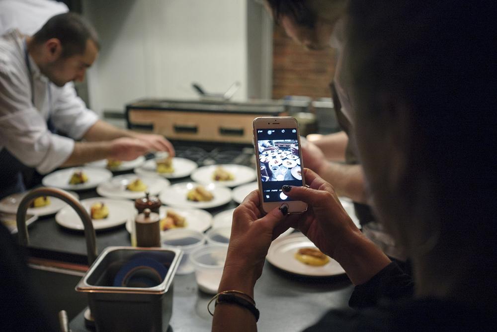 Kate Krader of Food &Wine in mid-capture