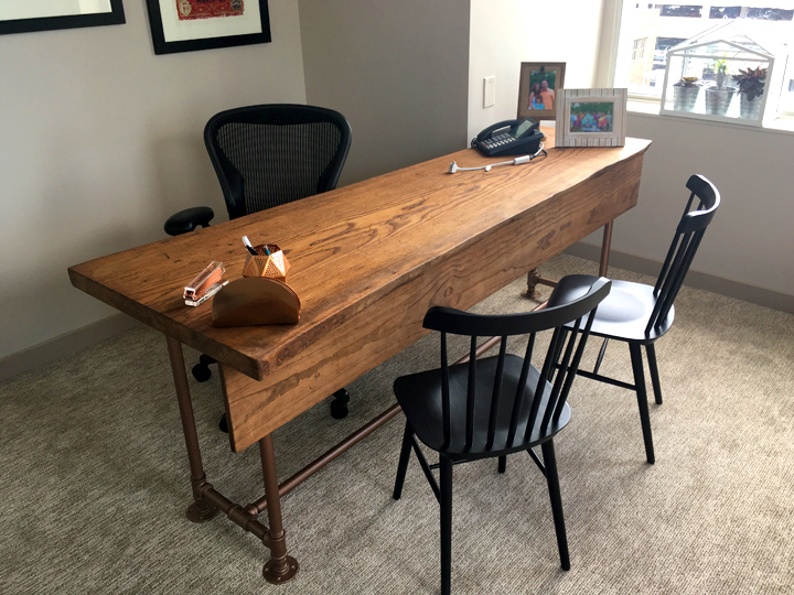 patrick dewenter graphic design cincinnati ohio furniture build craftsman crafted hand made handmade desk cast iron legs pipe table raw edge wood furniture
