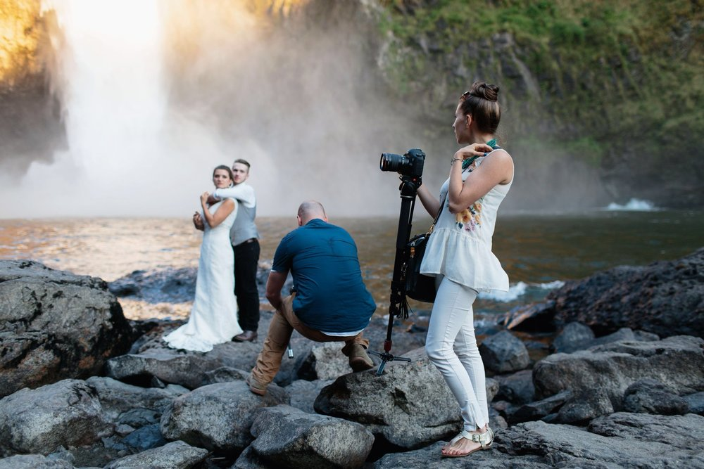 Love this shot Jonathan Gipaya grabbed of us filming at Snoqualmie Falls.