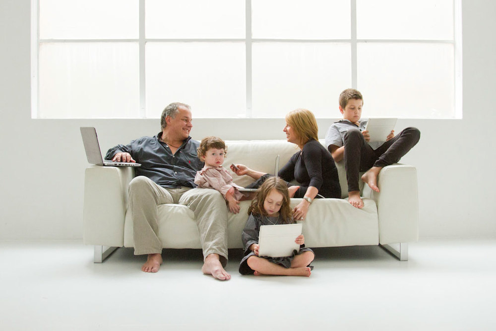 natural studio family portrait