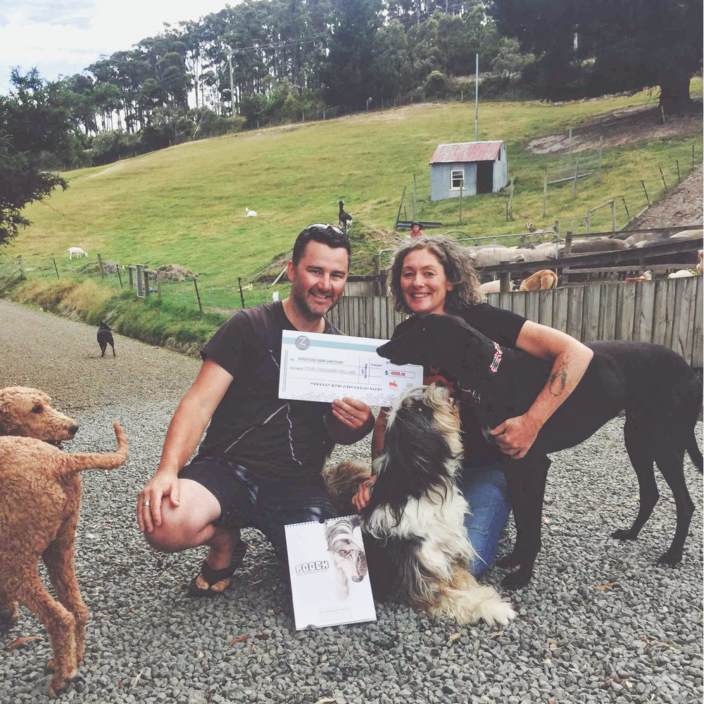 This is Dean handing over a $4000 cheque to the phenominal emma and beautiful Ruff from Brightside farm sancturary. (excuse the shorts - he was on summer holidays ;)