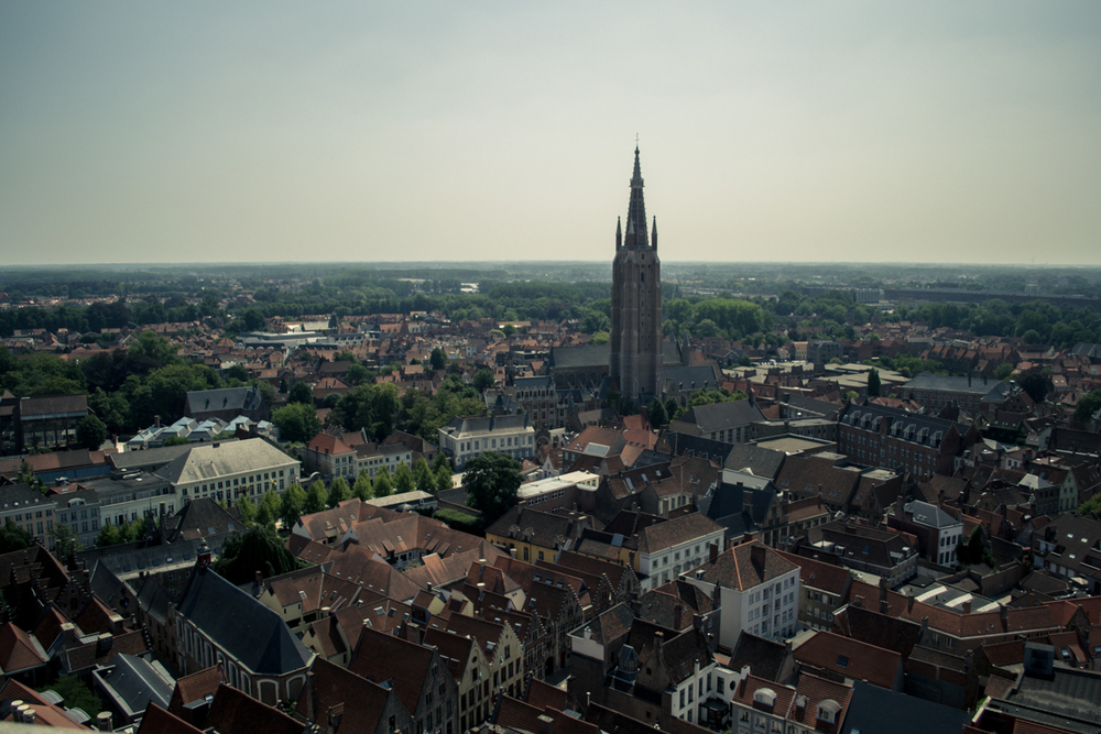 "View across the rooftops of Brugge, from the clock tower. (""You're not goin' up there are you?"")"