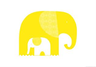 Gul elefant av Tara Hogan.