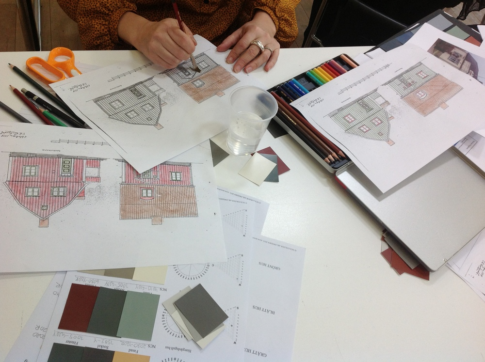 Färgsättningsuppgift dag tre: Tre färgsättnigsförslag för 1920-talshus.