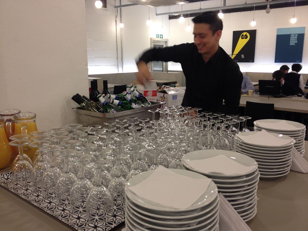 Preparing the catering