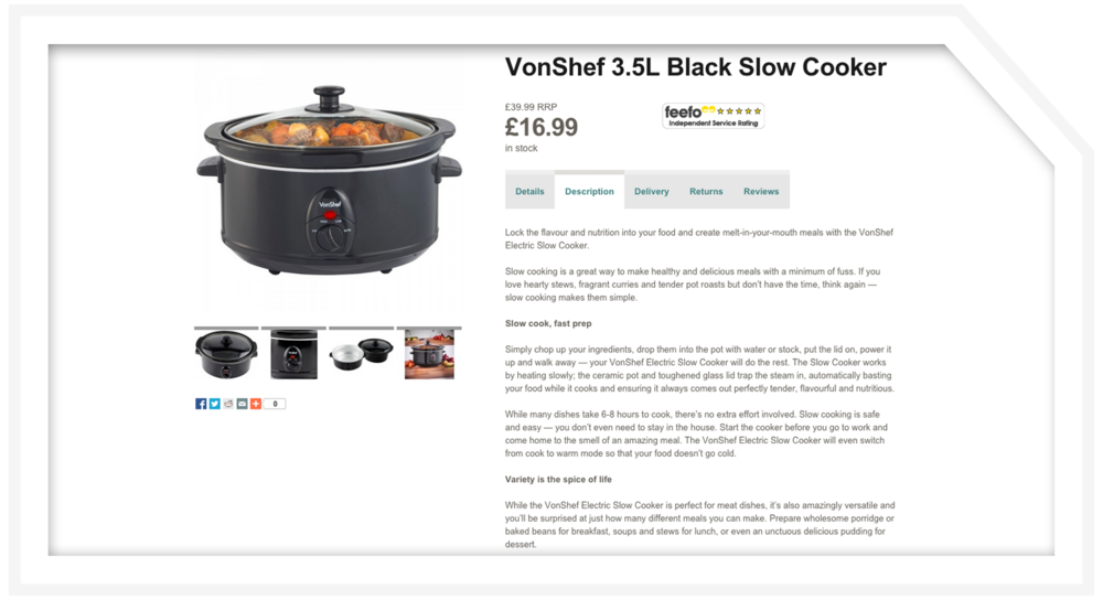Product description: Slow cooker