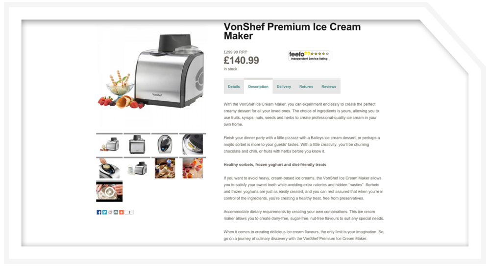 Product description: Ice cream maker