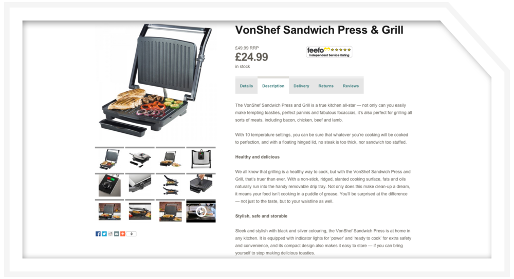 Product description: Sandwich press
