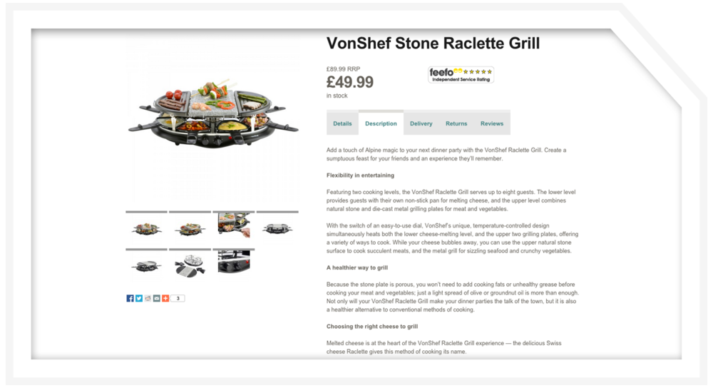 Product description: Raclette grill