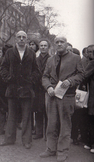 Michel Foucault and Jean Jenet at anti-racism demonstration in 1972.u
