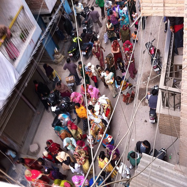 Elephants, horses, saris (at Shahpur Jat Marketplace)