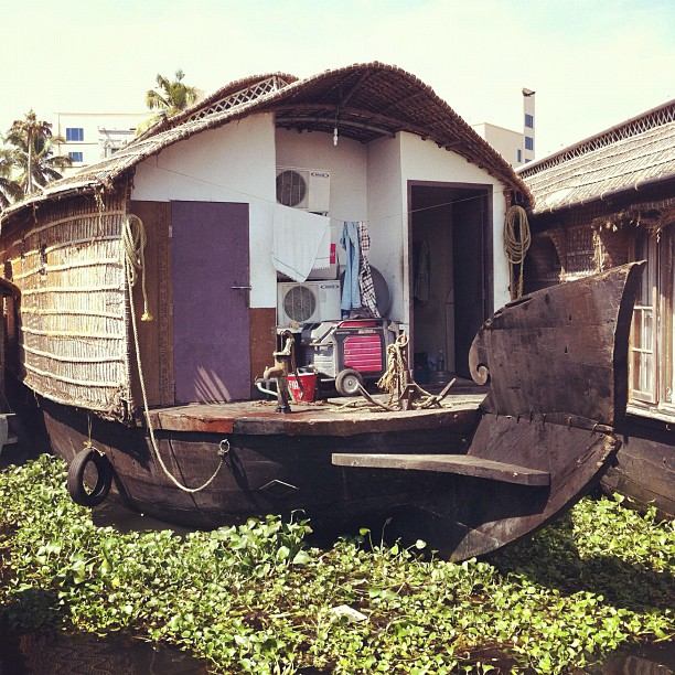 The back of a houseboat: all bits and bobs.