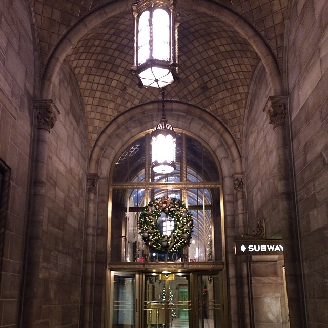 Morning walk #newyork #gothic #christmas #wreath #subway #neon #signs #architecture #buildings