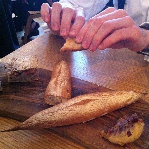 Breaking into that potato baguette (Taken with  Instagram  at Viajante)