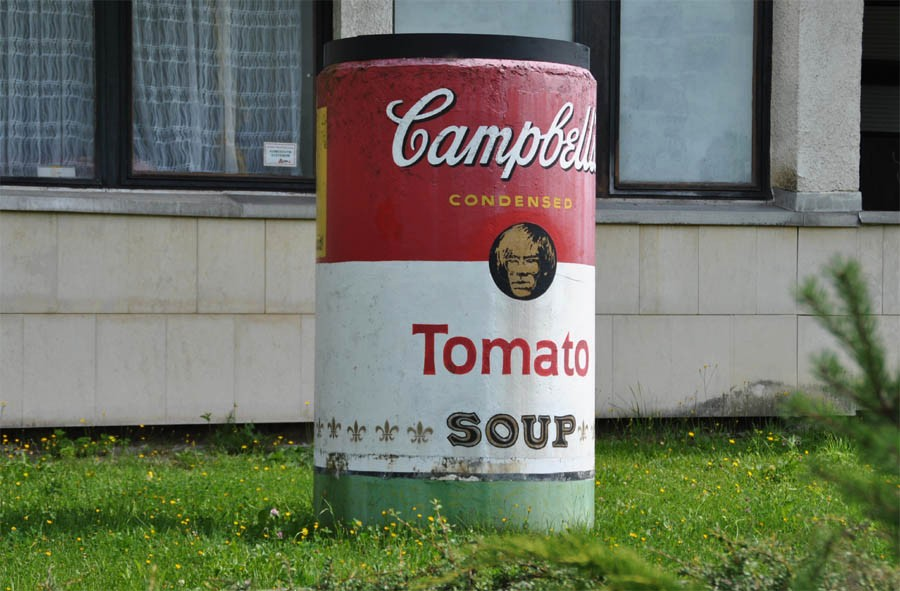 "A copy of Andy Warhol's Campbell's Soup Can outside of the Andy Warhol Museum in Medzilaborce, Slovakia.   "" The farther West we drove, the more Pop everything looked on the highways. Suddenly we all felt like insiders because even though Pop was everywhere – that was the thing about it – to us, it was the new Art. Once you 'got' Pop, you could never see a sign the same way again. And once you thought Pop, you could never se America the same way again.""       - Andy Warhol and Pat Hackett,  POPism: The Warhol 60s , (New York: Harcourt, Brace, Jovanovich, 1980), 39-40."