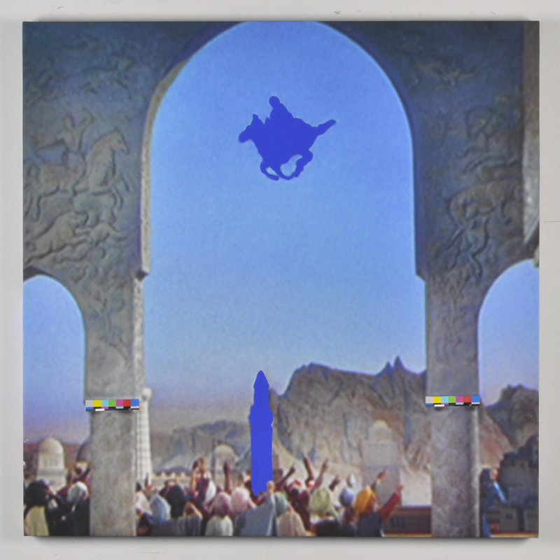 Vanessa Hodgkinson.  X-47 Pegasus (Recto),  2013. Gouache and blue screen emulsion on digitally printed canvas. 46.5 x 46.5 x 1.5 inches.