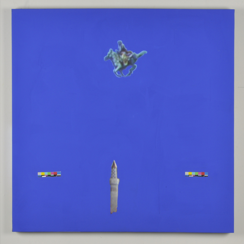 Vanessa Hodgkinson.  X-47 Pegasus (Verso),  2013. Gouache and blue screen emulsion on digitally printed canvas.(46.5 x 46.5 x 1.5 inches.