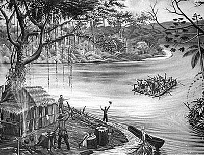 Chegada dos primeiros 17 imigrantes à foz do Ribeirão da Velha em Blumenau. Pintura. Autor desconhecido.