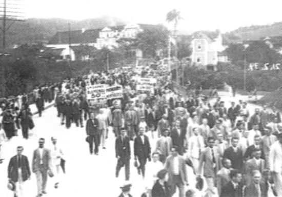 Blumenau, 1934. Protestos contra a emancipação de Indaial.
