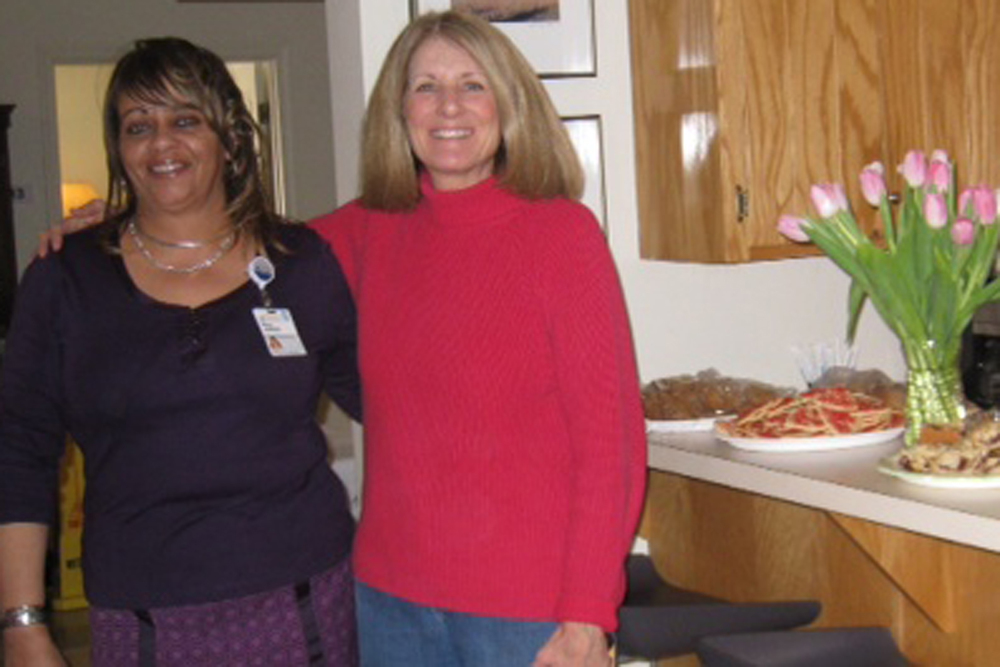 [Mary Jackson, manager of the UVA Medical Center Hospitality House, and Wendy Seay, Community Outreach chair]