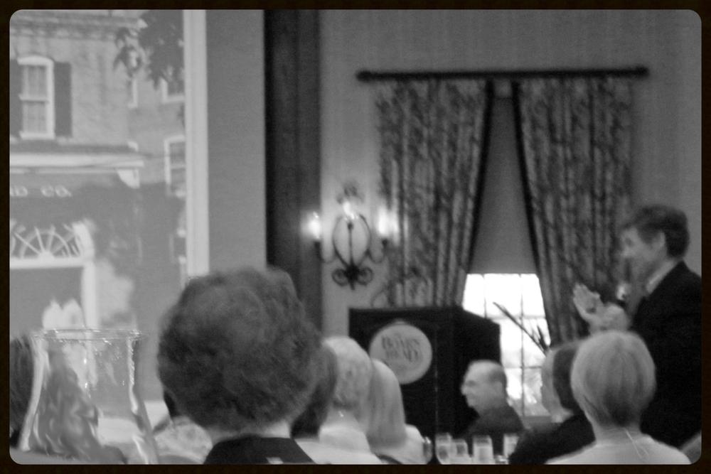 [Black-and-white photo of speaker Coy Barefoot at Boar's Head Inn]