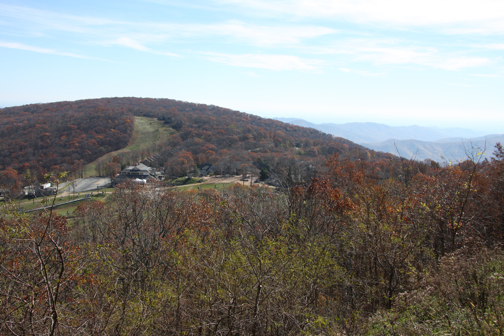 [A view of fall foliage at Wintergreen Resort]