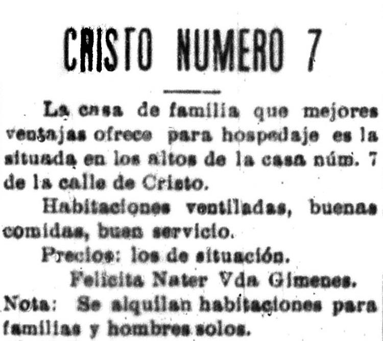 Imagen #1: Presentación de la mujer como administradora. (1904). Casa de huéspedes en la calle Cristo, 7.  La democracia .