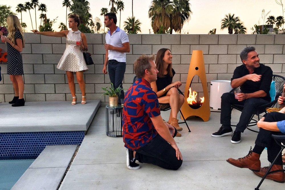 mid-century modern outdoor living phoenix-modfire fireplace-landscape design
