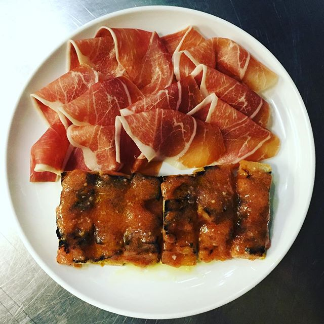 The simple things. Jamón Serrano - pan con tomate #simplicity #platesonthepass #bocadillossf #sanfrancisco #lefooding #eeeeeats #infatuationsf #jamonserrano #pork #curedmeat