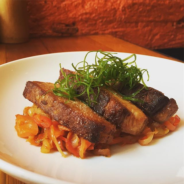 Pork belly with Piperade and scallions #bocadillossf #tapas #porkbelly #eeeeeats #sf #eatersf #7x7