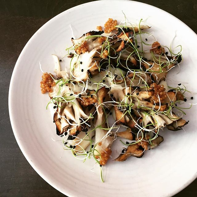 "Grilled maitake mushroom - herb aioli, pickled mustard, onion sprouts."" #eeeeeats #bocadillossf #mushrooms @eater_sf @infatuation_sf @eatthissf @sanfranciscoday"