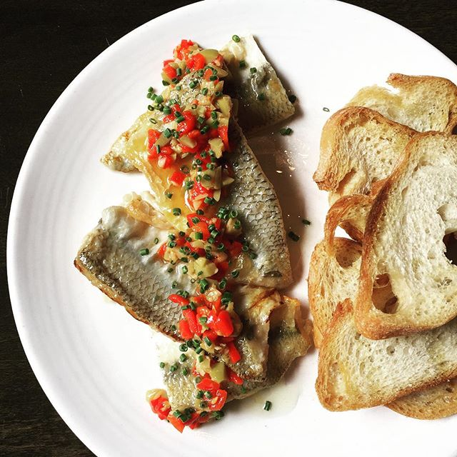 On the menu tonight. Local jacksmelt escabeche - piquillo pepper relish caught by our friend @8topburner  #bocadillossf #localfish #tapas #californiafood