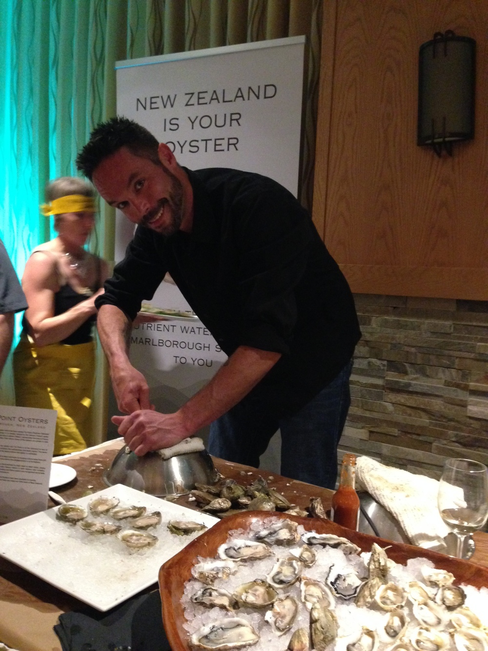 Rob Tyron (aka Effing Rob) shucking some New Zealand beauties at the 'Art of the Oyster Pearl Gala'