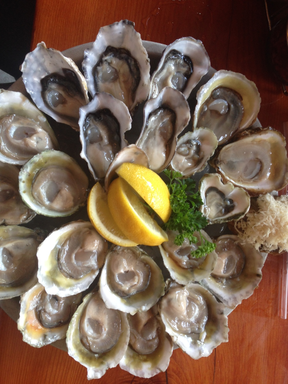 A delicious looking plate of freshly shucked New Zealand Oysters at Oyster Express in Vancouver.  Tio Points on the bottom, Kaipara Oysters on the top.