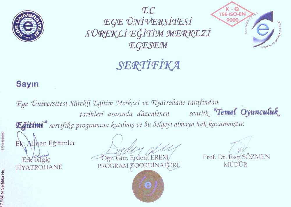 egesem oyunculuk sertifikası