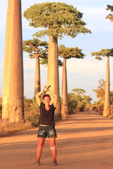 Elisa in the baobab avenue in Madagascar