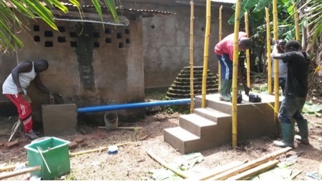 Initial phases of latrine construction