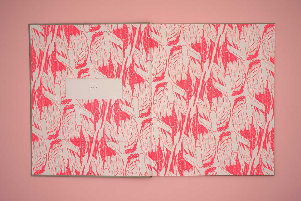 A Pink Flamingo, Jack Latham photobook. Photos taken across America following the Oregon trail. End Papers containing neon pink flamingos. Illustration by Eliza Fricker of Baines and Fricker.