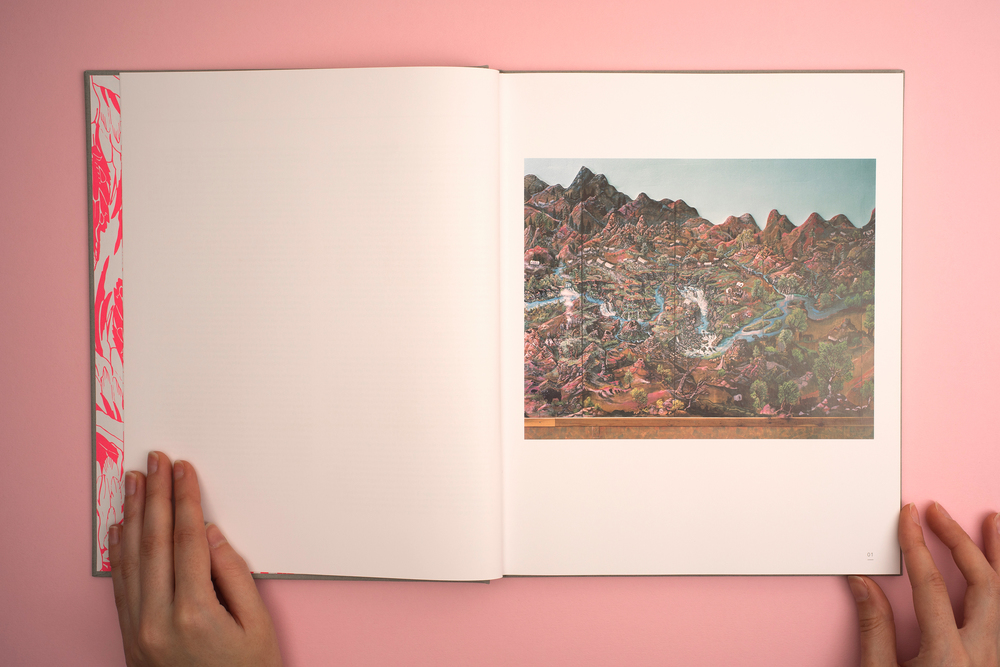A Pink Flamingo, Jack Latham photobook. Photos taken across America following the Oregon trail. Photograph of an illustration of the Oregon trail.