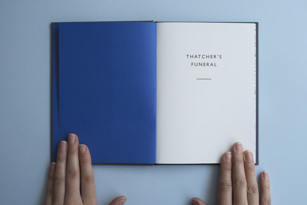 Thatcher's Funeral book by photographer James O Jenkins. First page and blue end pages.