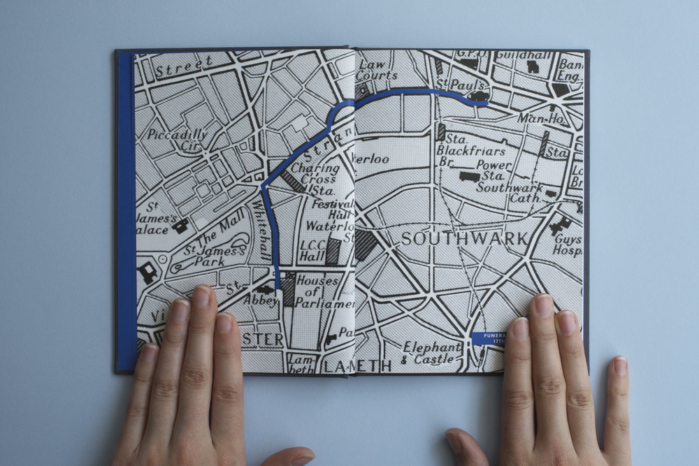 Thatcher's Funeral book by photographer James O Jenkins. Map of funeral procession, London.